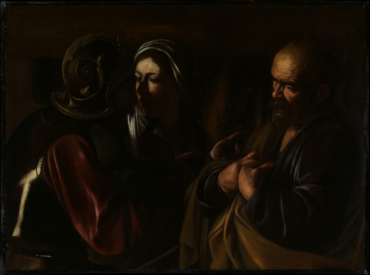 The Denial of Saint Peter, oil on canvas by Caravaggio, 1610. Caravaggio's late works depend for their dramatic effect on brightly lit areas standing in contrast to a dark background. The picture was painted in the last months of Caravaggio's life.