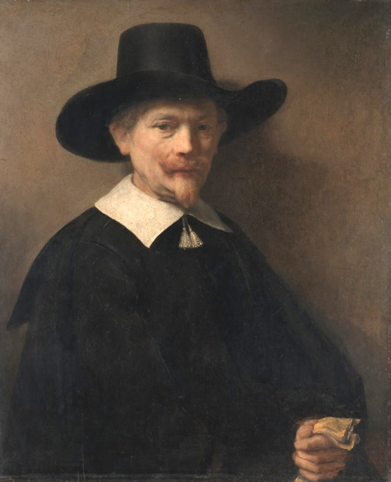 Portrait of a Man Holding Gloves, oil on wood by Rembrandt, 1648.