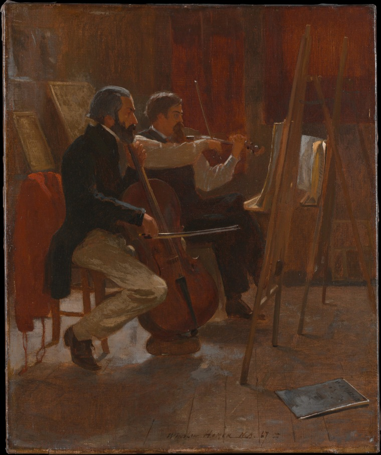 The Studio, oil on canvas by Winslow Homer, 1867. A cellist and a violinist, probably amateur musicians, are shown practicing in an artist's studio, using easels as music stands.