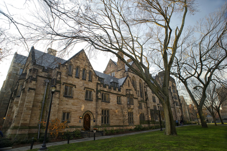 Image: Calhoun College, part of Yale University built in 1933, in collegiate gothic style architecture.