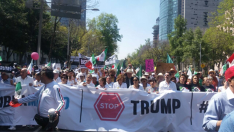 Protesters at an anti-Trump demonstration in Mexico City on Feb. 12.