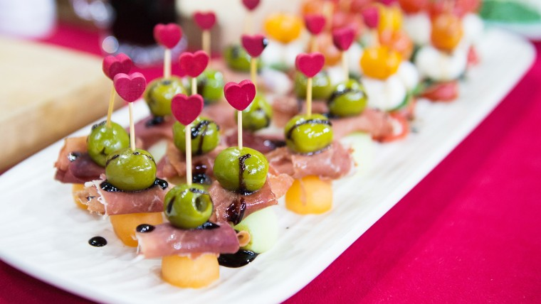 Prosciutto, Green Olive and Melon Skewers