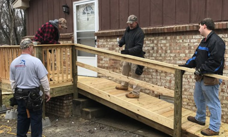 The guys worked hard to finish the ramp for Lydia!