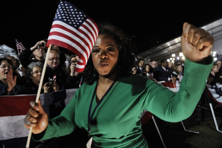 Image: Television talk show host Oprah Winfrey dances during a victory celebration for US President-elect Barack Obama on November 4, 2008 in Chicago, Illinois.