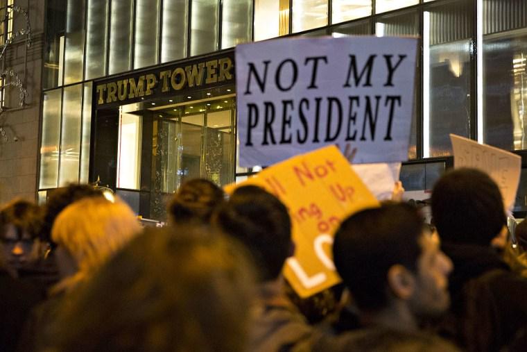 Demonstrators Protest As Donald Trump Starts New Political Era And Republicans Claim Mandate