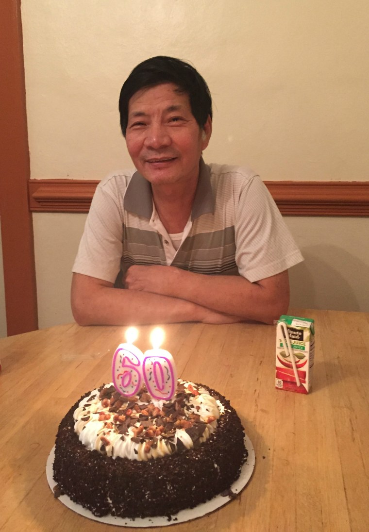 Jiansheng Chen on the occasion of his 60th birthday. Chen was killed while reportedly playing Pokemon Go, allegedly by a community security guard. He played the game to relate to his grandchildren and nieces and nephews, according to his family.