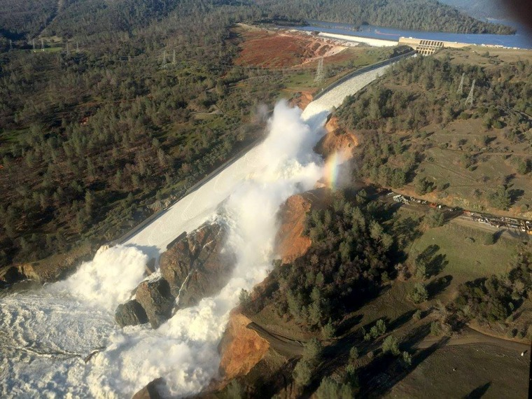 Image: A damaged spillway with eroded hillside is seen in an aerial photo taken over the Oroville Dam in Oroville, California, Feb. 11, 2017.