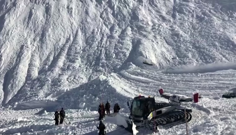 Image: Rescue personnel work at the site of an avalanche at Lavachet Wall in Tignes, France, Monday.