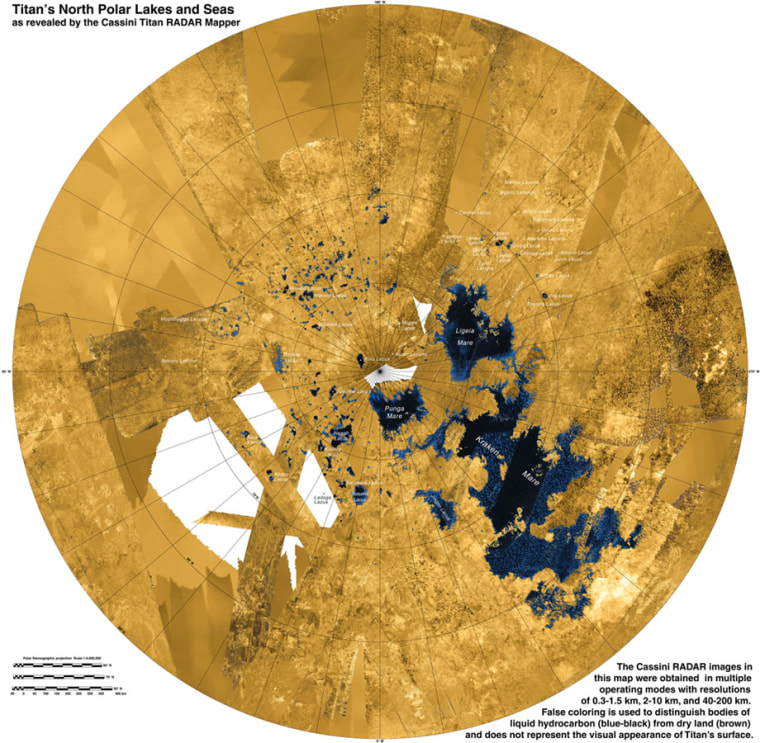 A radar map of Titan's north pole shows its lakes and seas made of methane and ethane.