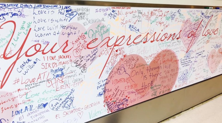 The 'Love Wall' at Atlanta's Hartsfield-Jackson airport.
