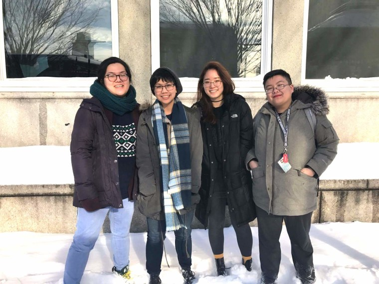 """Rhode Island School of Design seniors Jean Wei, Mariel Rodriguez, Hanna Cha and Michelle Zhuang came up with the concept of """"Permanent Alien"""" after long discussions about Asian American identity."""