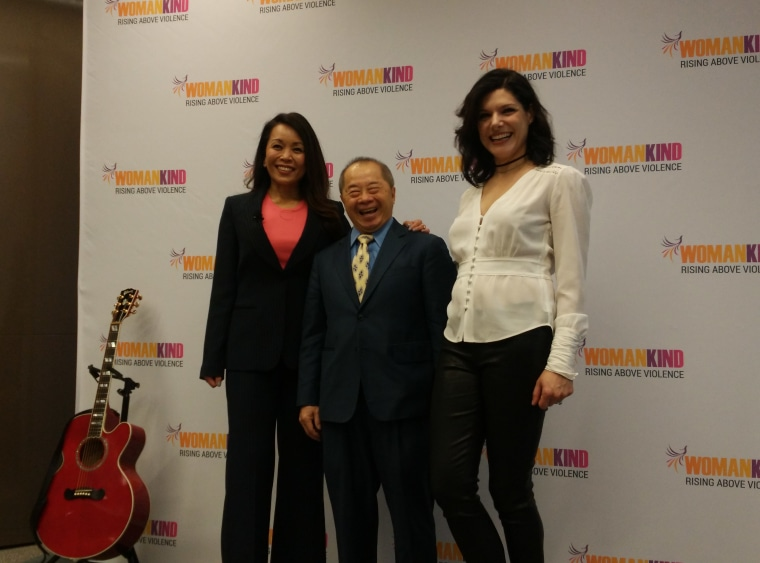Womankind board chair Karen Elizaga, executive director Larry Lee, and musician Queen V at a press conference about the organization's rebranding.