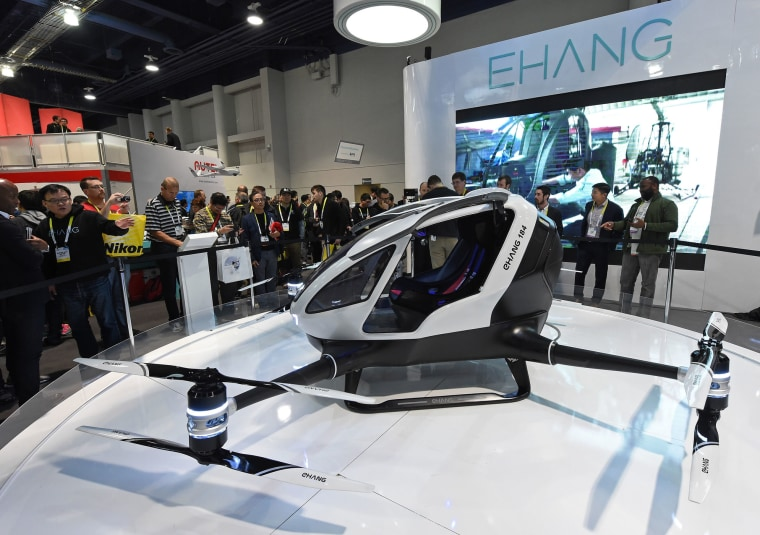 The EHang 184 passenger drone was presented at CES 2016 in Las Vegas, Nevada.