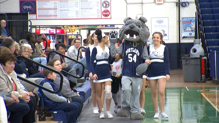 Freshman Kamron King at Portland High School in Maine is the team's first ever deaf mascot.