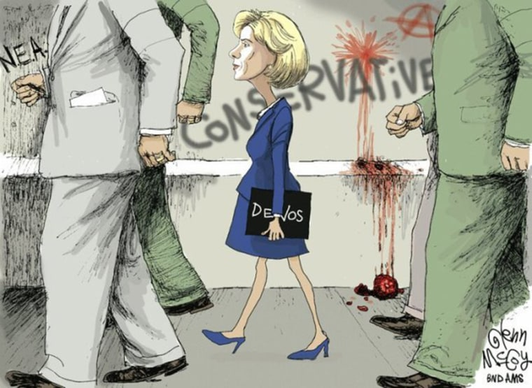 Image: Cartoon by Glenn McCoy depicting Education Secretary Betsy DeVos.