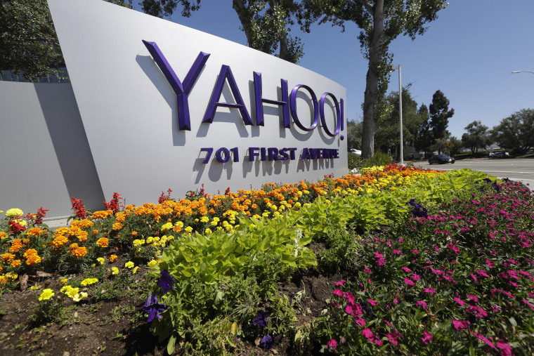 This Tuesday, July 19, 2016 photo shows a Yahoo sign at the company's headquarters in Sunnyvale, Calif.