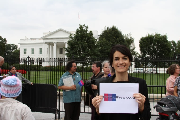 Bisexual advocate Nicole Kristal in front of the White House after the 2015 Bisexual Community Policy Briefing.