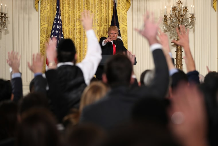 Image: President Donald Trump calls on reporters during a news conference, Thursday, Feb. 16, 2017, in the East Room of the White House in Washington.