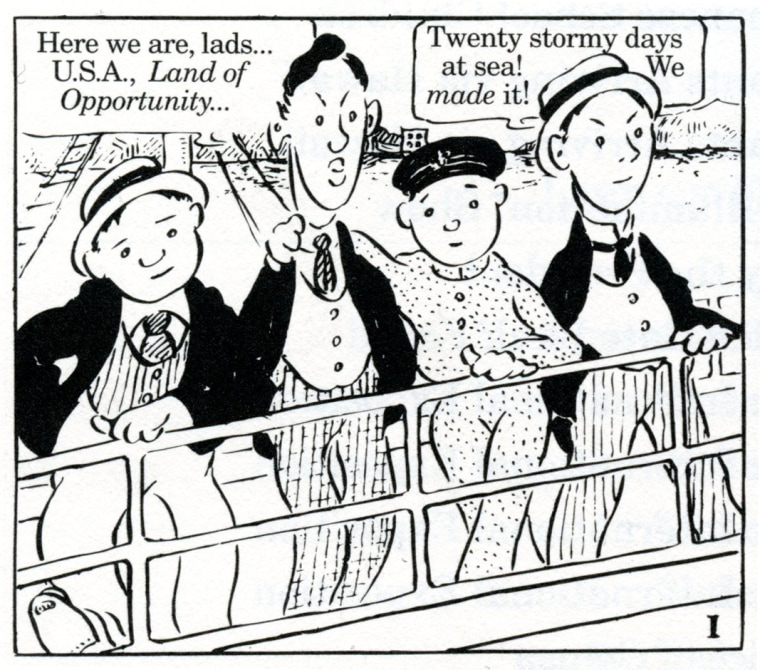 "A panel taken from ""The Four Immigrants Manga,"" originally self-published by Henry Yoshitaka Kiyama in San Francisco in 1931. The graphic novel was translated and republished by Stone Bridge Press in 1998."