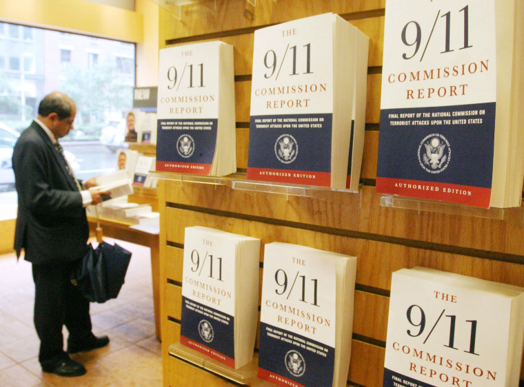 "Image: ""The 9/11 Commission Report"" at a bookstore in 2004"