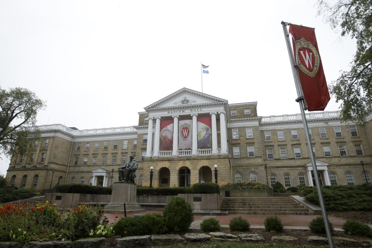 Image: An outside view of Bascom Hall on the campus of the University of Wisconsin in Madison, Wisconsin.