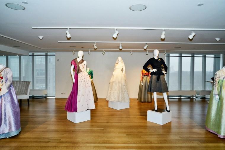 The three hanboks designed by Carolina Herrera