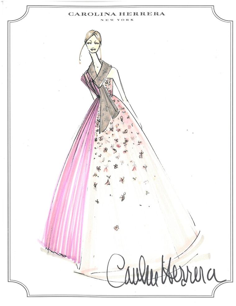A sketch of one of Carolina Herrera's hanbok designs.