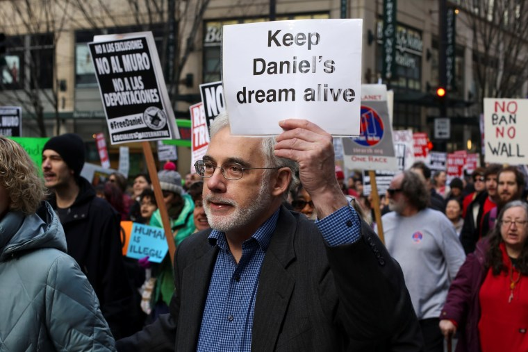Image: Protestors march through downtown Seattle in support of Daniel Ramirez Medina, who was detained by U.S. immigration authorities, in Seattle, Washington