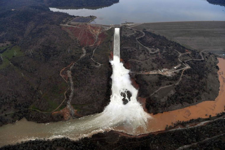 Image: The Oroville Dam spillway releases 100,000 cubic feet of water per second