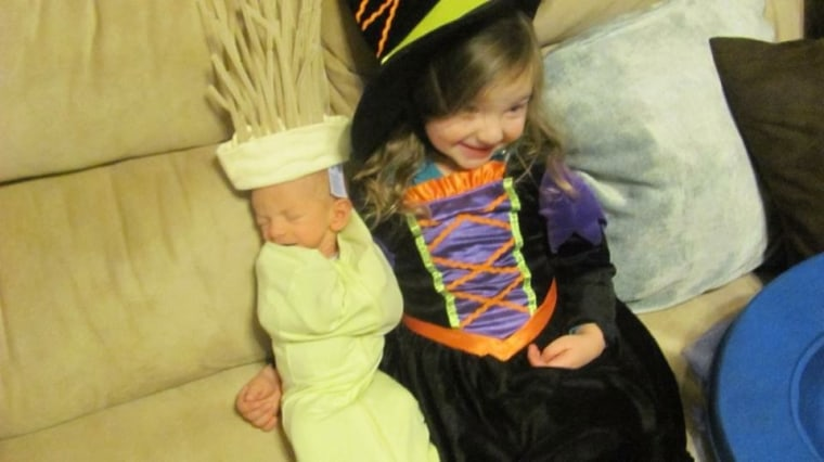 Melody and her little brother Vince at Halloween in 2011.
