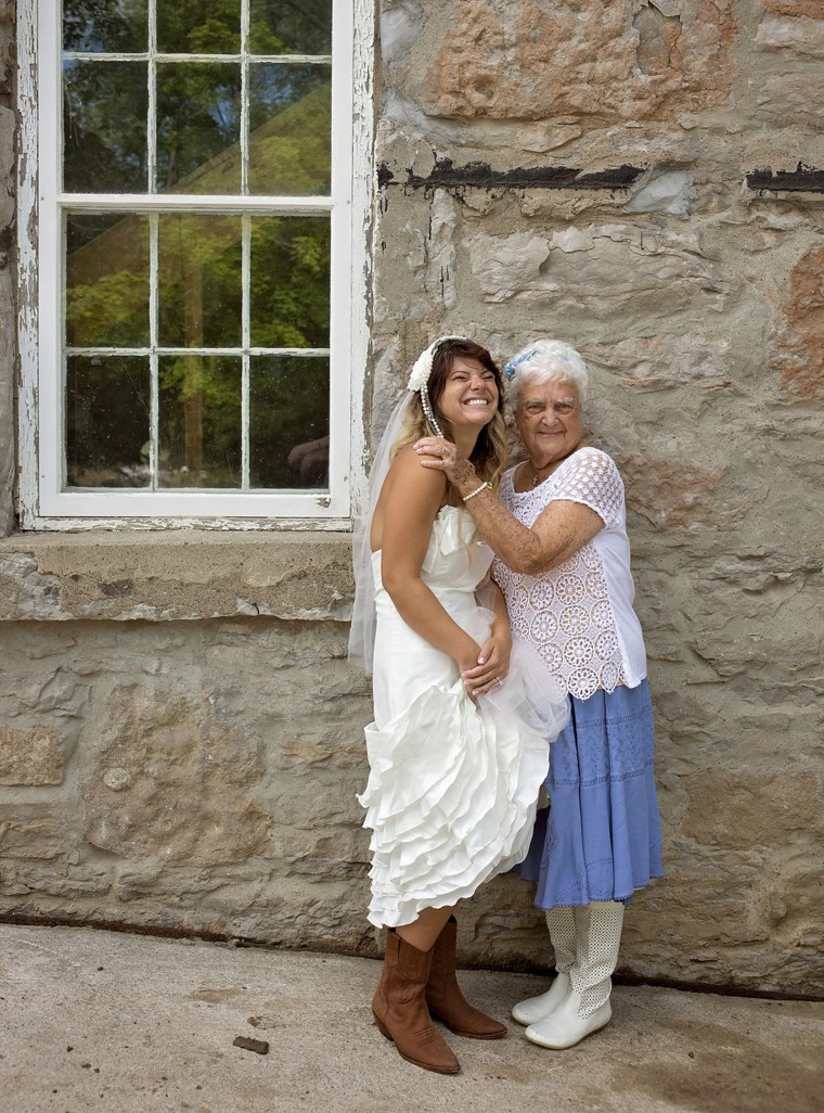 Amanda Scott poses with her beloved grandmother Mary Smith on her wedding day.