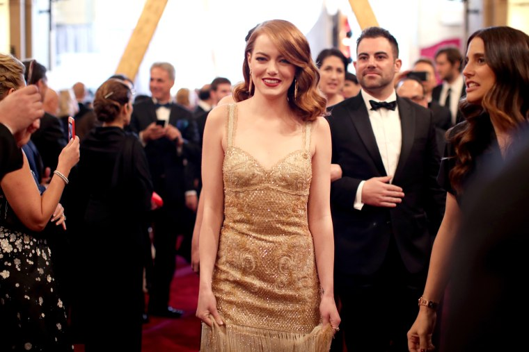 Emma Stone and brother on Oscars red carpet