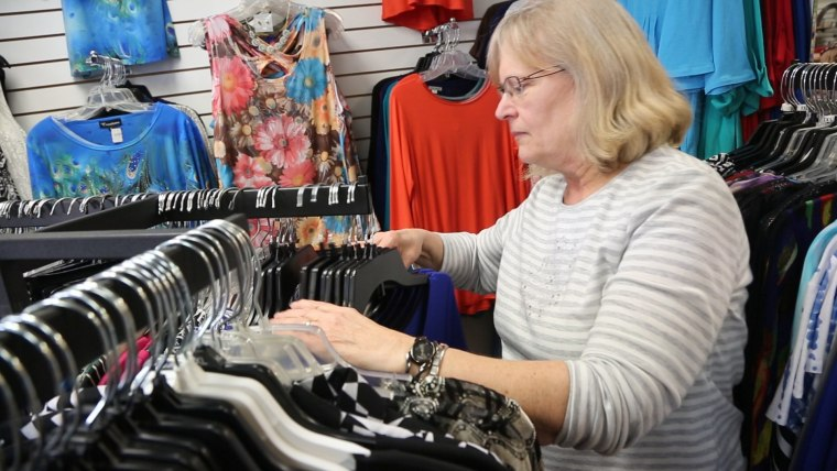 "Image: Lynne Greene, a Republican and employee at a clothing store in Dubuque, Iowa, pushes back against the ""narrative"" about President Trump that, she says, Democrats are promoting."