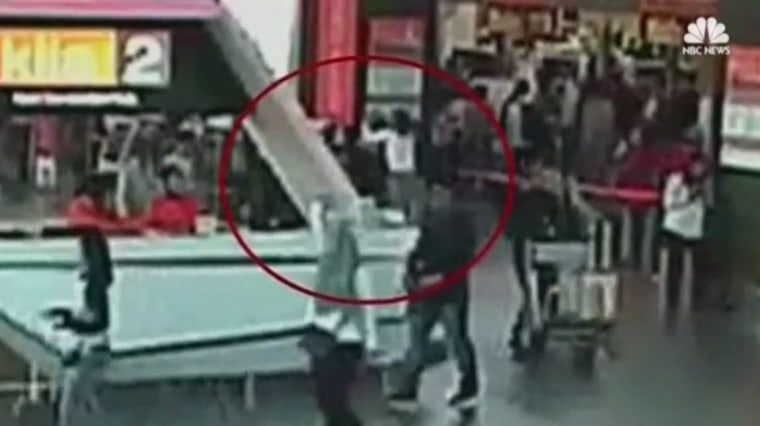 Image: A still from the surveillance video believed to show the moment King Jong Nam is attacked at the airport in Kuala Lumpur