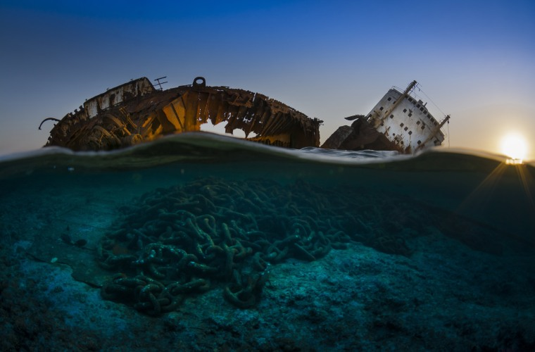Image: This is the wreck of the Louilla resting on top of Gordon reef in the Straits of Tiran on the edge of Egypt's Sinai Peninsula.