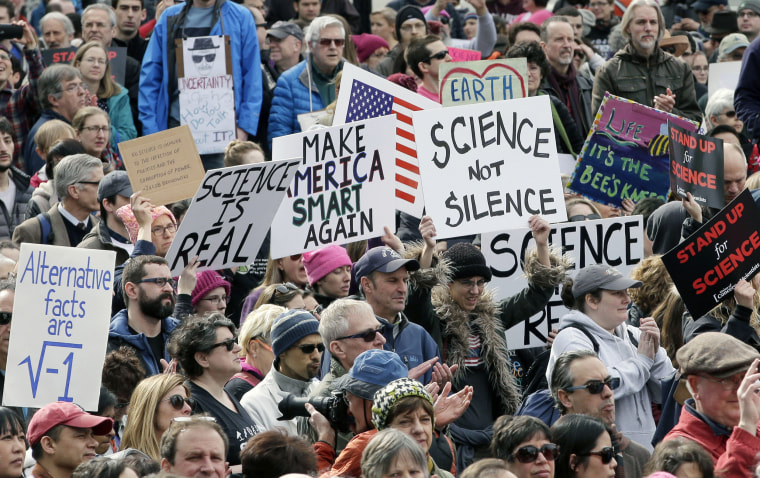 Image: Members of the scientific community, environmental advocates, and supporters demonstrate on Feb. 19, 2017, in Boston.