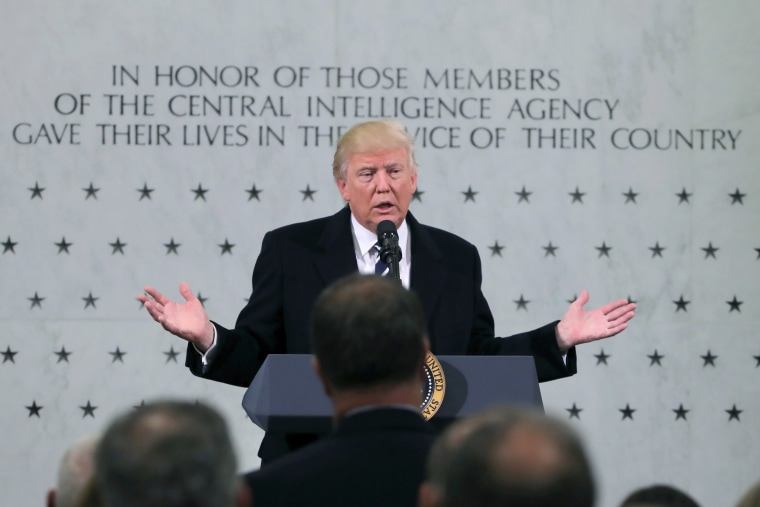 Image: U.S. President Donald Trump delivers remarks during a visit to the Central Intelligence Agency (CIA) in Langley, Virginia U.S.