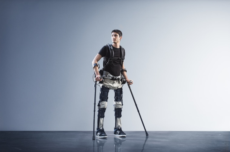Steve Sanchez, chief pilot for suitX, test drives the Phoenix exoskeleton.