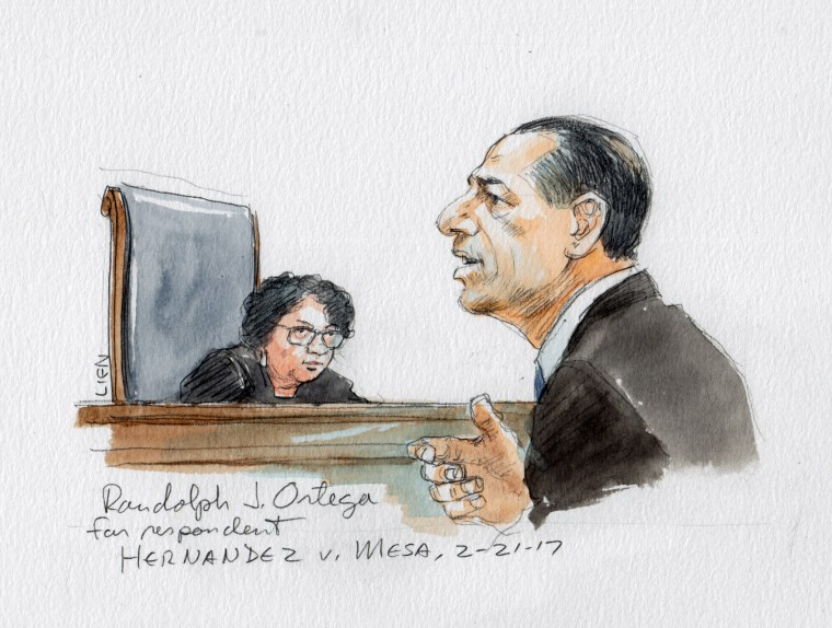 Image: Attorney Randolph J. Ortega address the Supreme Court in Hernandez v. Mesa
