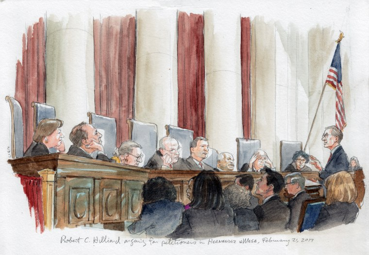 Image: Attorney Robert C. Hilliard addresses the Supreme Court in Hernandez v. Mesa