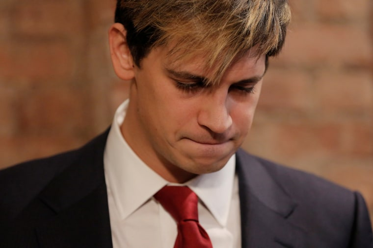 Image: Milo Yiannopoulos addresses the media during a news conference in New York