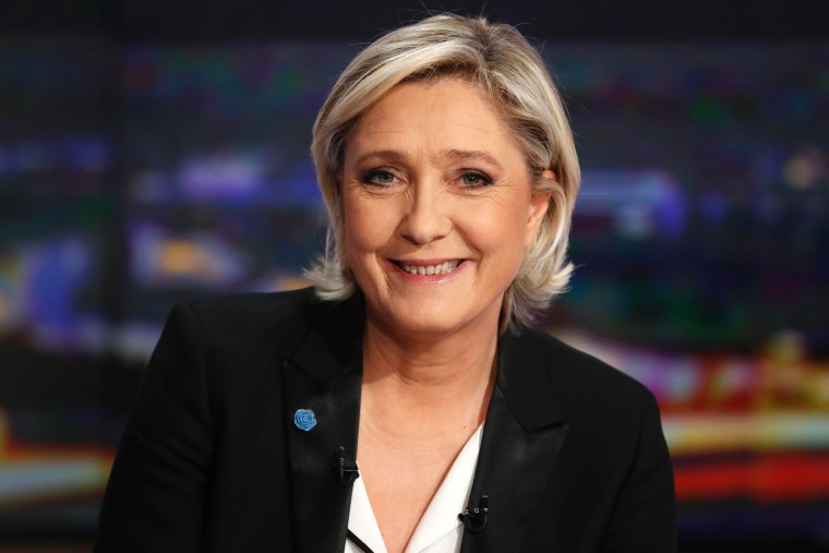 Image: Marine Le Pen poses Wednesday ahead of a television interview.