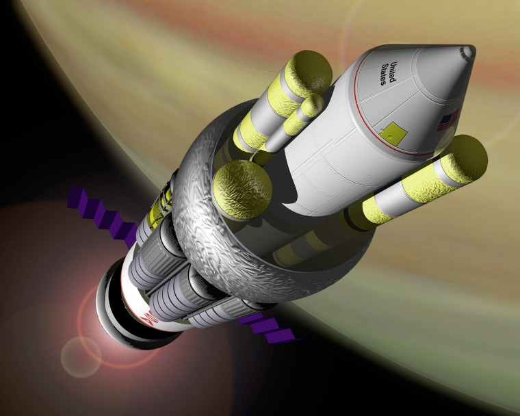 Artist conception of NASA's Project ORION, the smallest model of a craft that can take off from Earth, explore Saturn, and return in fourteen months with a manned crew.
