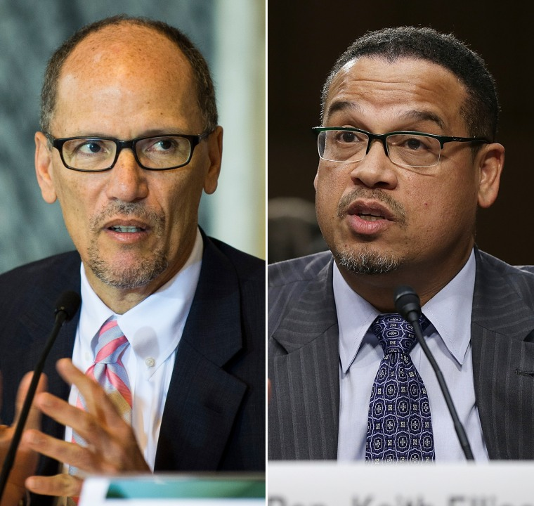 Image: Tom Perez and Keith Ellison are candidates to lead the DNC