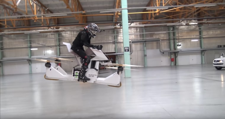 The hoverbike prototype, dubbed Scorpion-3, is capable of lifting itself and a driver into the air.