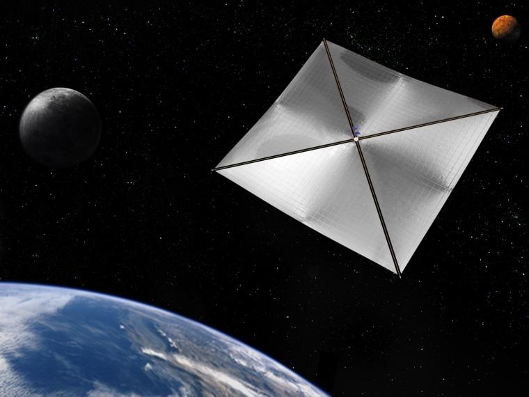 Illustration of NanoSail-D, a solar sail NASA deployed in 2011.