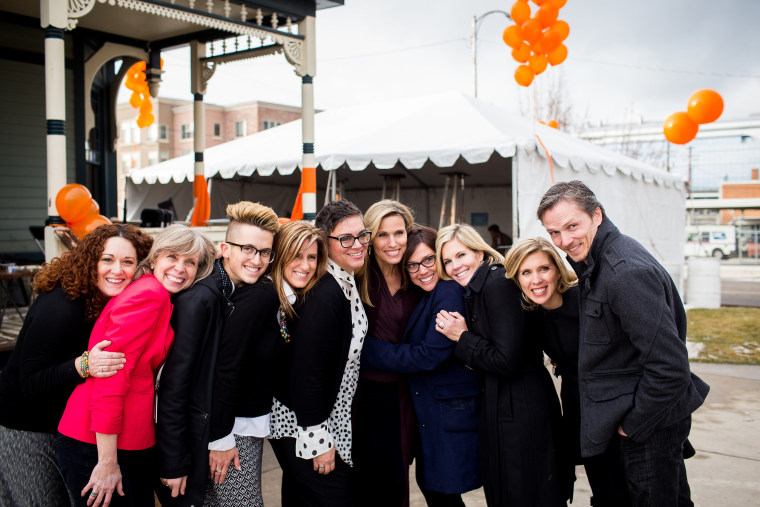 Jacob Dunford (third from left) and the Encircle LGBTQ+ Family and Youth Resource Center team at the center's grand opening in February 2017