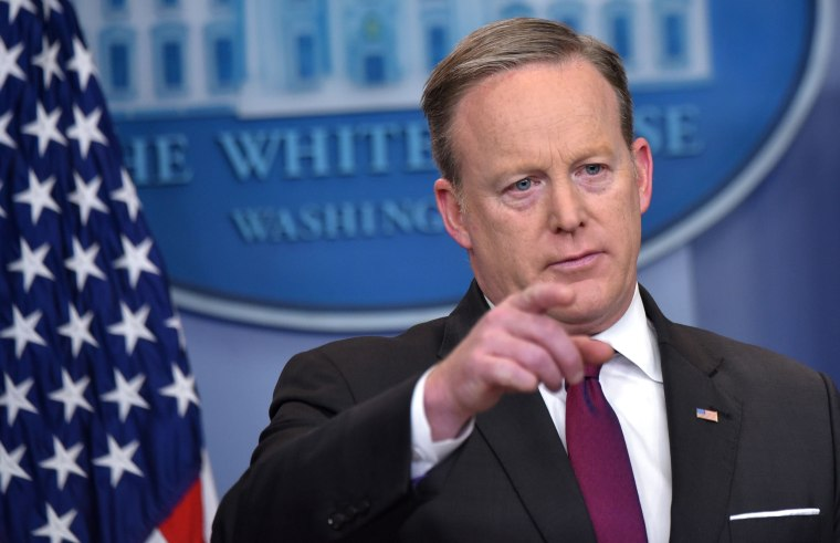 Image: White House Press Secretary Sean Spicer speaks during the daily briefing in the Brady Briefing Room of the White House on Feb. 23, 2017 in the Washington, D.C.