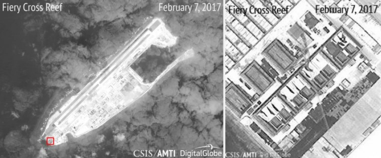 New satellite images show structures built by the Chinese military on islands in the South China Sea. Analysts believe they can house surface-to-air missiles.