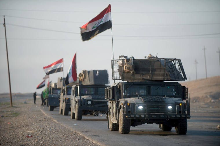 Image: An Iraqi Special Forces convoy heads to the frontline as the Iraq government continues to capture territory from ISIS Feb. 23, 2017 in Mosul, Iraq.